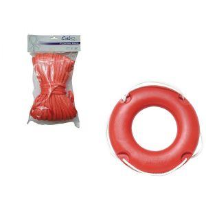 Set Rettungsring mit Wurfleine, 42 cm Wurfring mit Schwimmseil