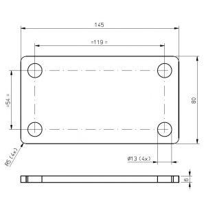 Befestigungsplatte Montageplatte Gegenplatte Anschlagplatte zur Montage von Trailer Zubehör - verschiedene Ausführungen