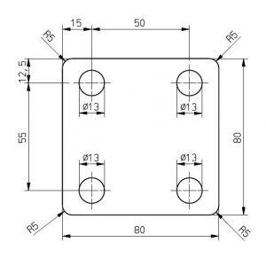 Anschlagplatte 80 x 80 x 6 mm Trailer Gegenplatte, Befestigungsplatte, Montageplatte