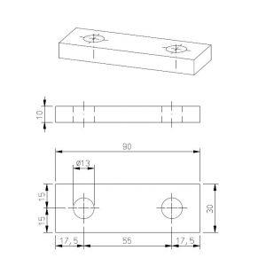 Montageplatte 90 x 30 mm für 40 mm Trailerrahmen Befestigungsplatte, Anschlagplatte, Gegenplatte