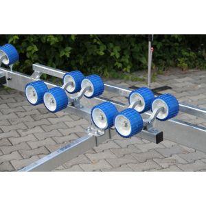 8er Multi Sliprollen Sliprollenwippe montiert auf Systembalken Sliprollensystem für Bootstrailer / Ausstellungsstück