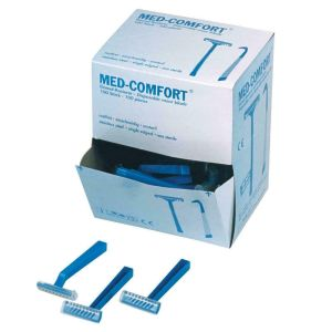 Einmalrasierer Einwegrasierer blau 100 Stück 1- schneidig / Med-Comfort