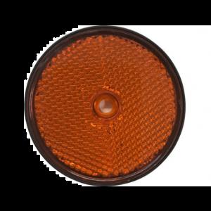 Rückstrahler Reflektor Rund Orange mit Schraubbefestigung für Anhänger LKW Wohnwagen Caravan / JOKON