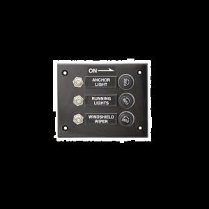 Schalter-Paneel 3-fach Schalttafel horizontal mit Sicherungen für Boote Yachten und Caravan / Seaworld